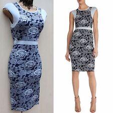 Karen Millen Blue Floral Rose Print Bandage Sicilian Knit Cocktail Dress KM1,6-8