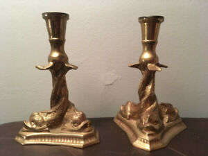 Pair-Heavy-Brass-Asian-Koi-Fish-Candle-Sticks-Holders-8-75-Inches-Tall
