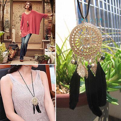 Bohemian Dream Catcher Mesh Net Black Feathers Necklace Women Jewelry Gift