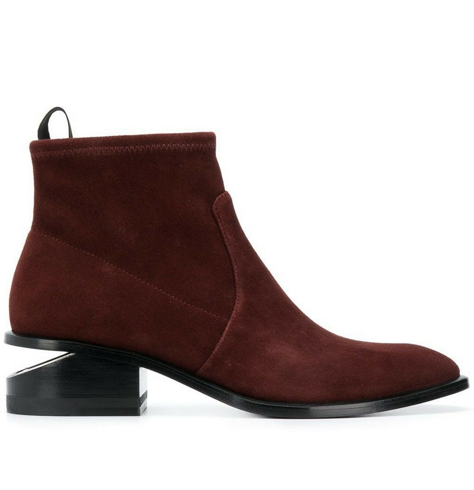NEW ALEXANDER WANG Kori Cut Out Heel Suede Bootie shoes, Cranberry, EU36.5  595