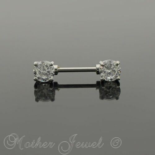 SILVER SURGICAL STEEL DOUBLE FRONT FACE ROUND SIMULATED DIAMOND NIPPLE 16MM BAR