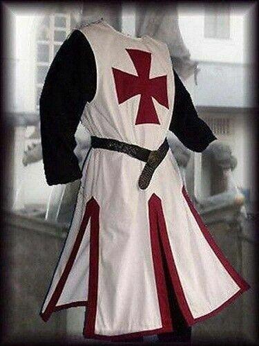 Medieval Red Templar Knight Tunic Crusader Surcoat Sleeveless Renaissance White