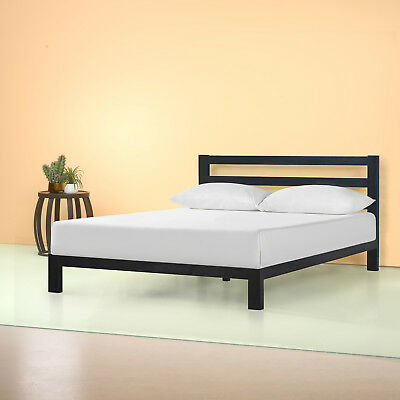 Full Size Zinus 10 Modern Studio Metal Frame Platform Bed With Headboard Black Ebay