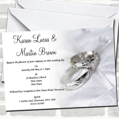 Classy White And Silver Rings Wedding Invitations
