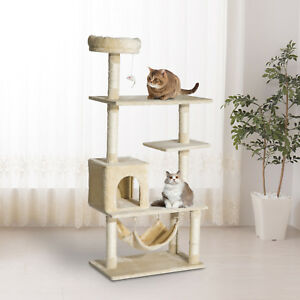 "60"" Cat Tree Multi-Scratcher Pet House Kitty Activity Center Beige"