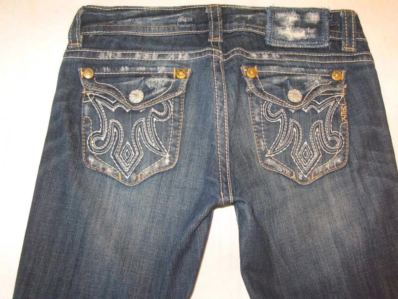 MEK Oaxaca Bootcut Jeans Women Sz 28 Dark Distressed w Stretch L 32.75