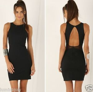 Bodycon-Mesh-Cut-Out-Panels-Sexy-Stretch-Dress-L-12-14-Open-Back-Party-Evening