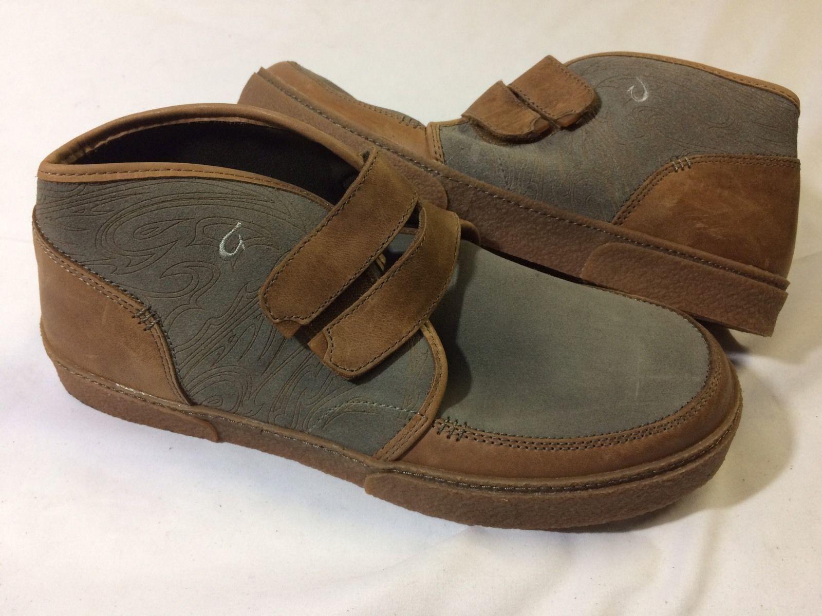 Olukai KAHA grau TAN MEN's Leather Stiefel Größe 8