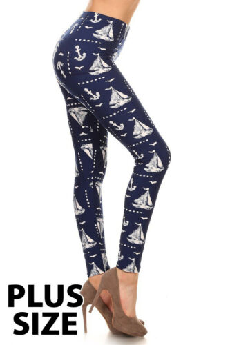 Women Girls Leggings Mommy And Me One Size Plus Anchor Sailboat Print Blue