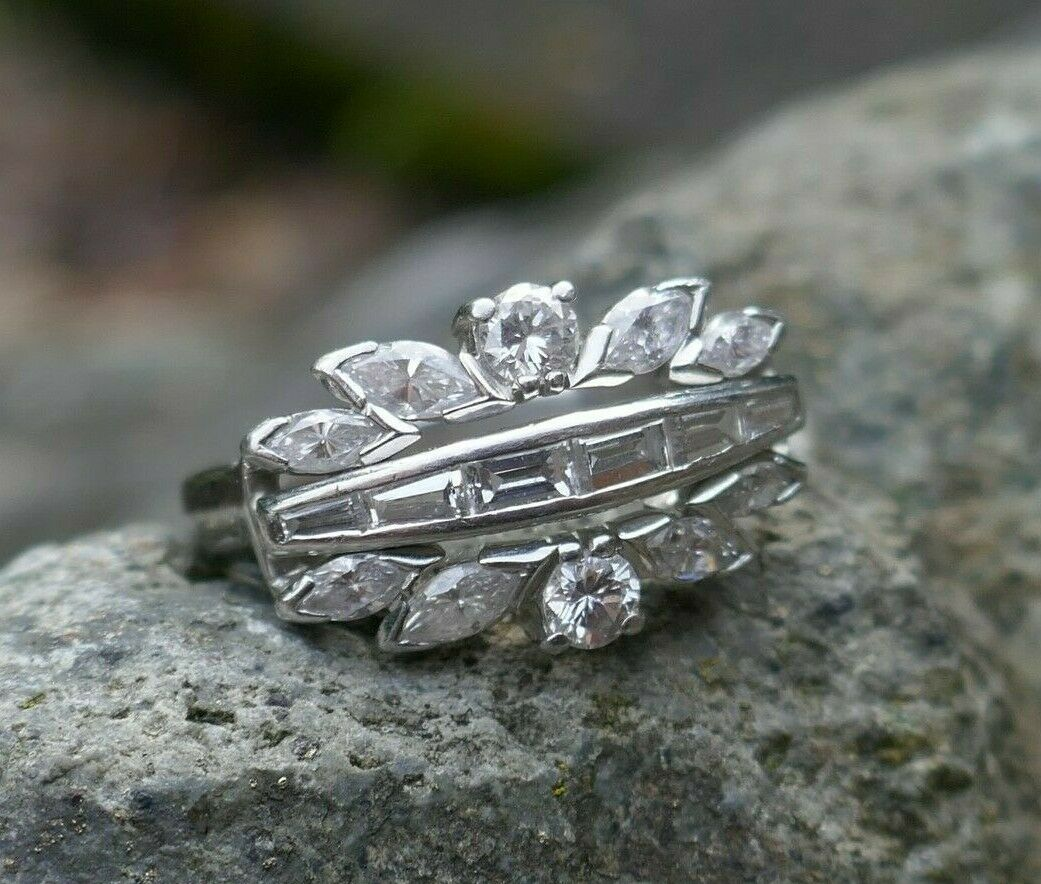 1940's   1950's Vintage 900 Platinum Diamond Ring - Size 7.75 - TCW 1.81