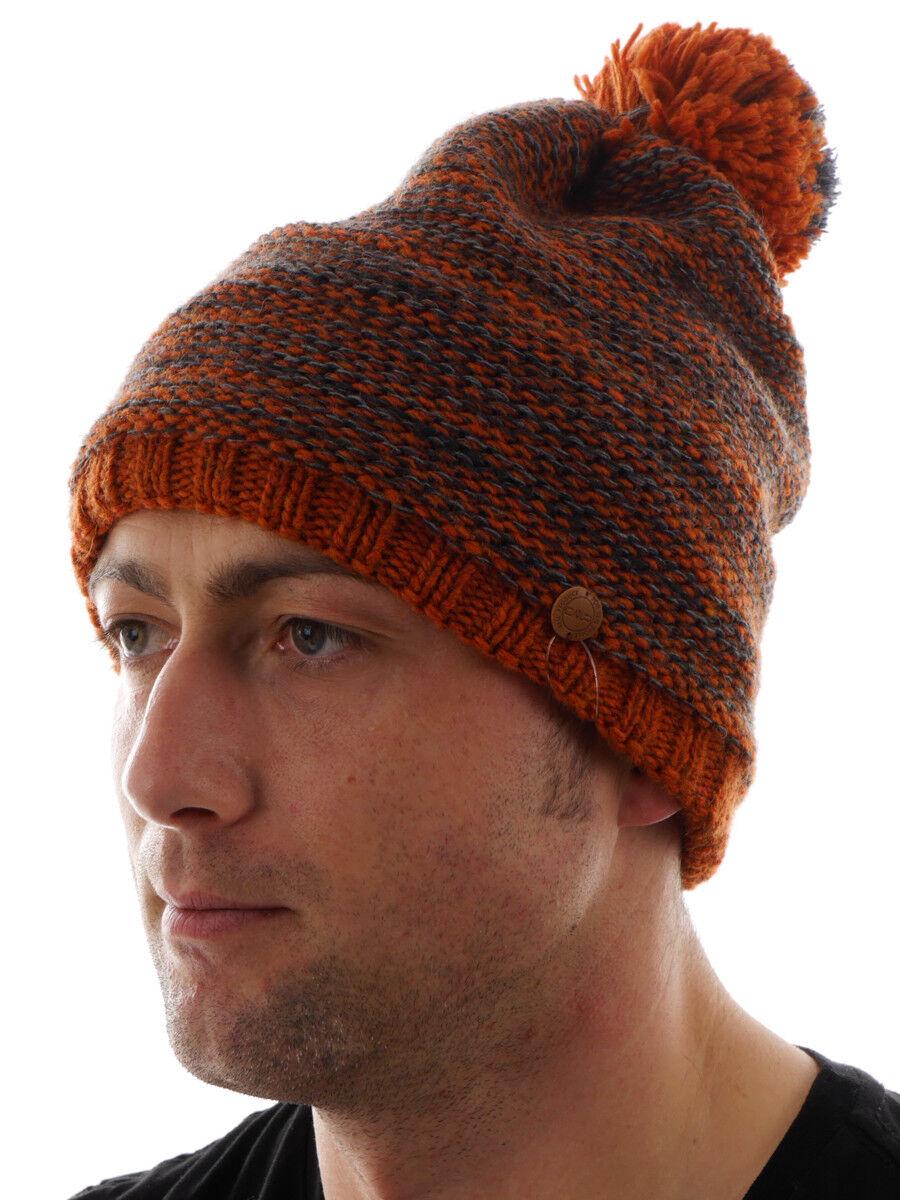 CMP Beanie Mütze Wintermütze orange Bommel Fleece wärmeisolierend