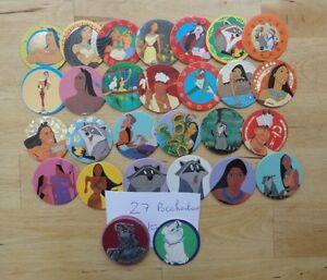 Lot-de-27-pogs-Pocahontas-1-kini-degommeur-Pocahontas-slamer-disney-Panini