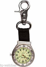 Klox Silver Luminous Canvas Belt Clip-on Nurses Medical Doctors Fob Watch