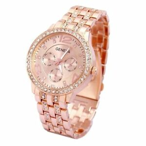 ROSE-GOLD-Geneva-Chronograph-Designer-Style-Ladies-Womens-Crystals-Bling-Watch