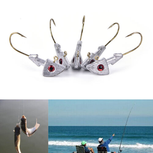 5XJig Fish Headed Jigs Hook Fishing Soft Worm Lure Baits Lead Jig FishHooks FO