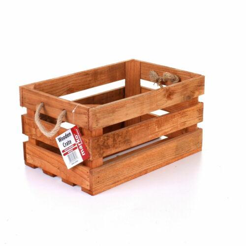 WOODEN CRATE VINTAGE RUSTIC STORAGE BOX ROPE HANDLES SLATTED 39.5 x 26 x 20.5CM