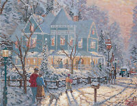 Cross Stitch Kit Thomas Kinkade A Holiday Gathering Wintertime House 51286