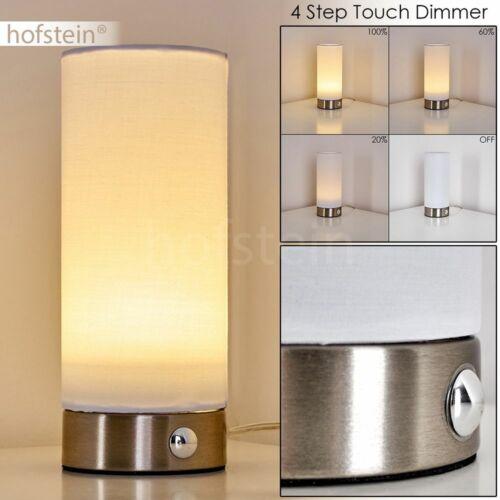 LED Touchdimmer Wohn Schlaf Zimmer Leuchten Nacht Tisch Lese Lampen Stoff weiß