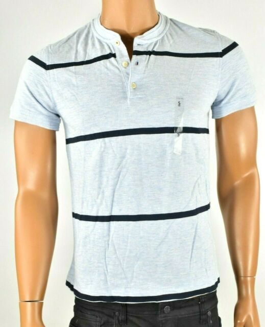 Tommy Hilfiger Mens T Shirt S Blue Henley Stripe Custom Fit Short Sleeves