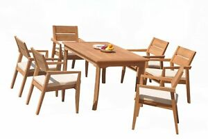 """A-Grade Teak 7pc Dining 60"""" Rectangle Table 6 Vellore Stacking Arm Chairs Set 9780890893647"""
