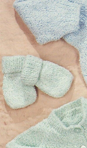 Romper Suit Booties//Mitts -3 sizes 0-12m  PO318a Knitting Pattern Baby Cardi