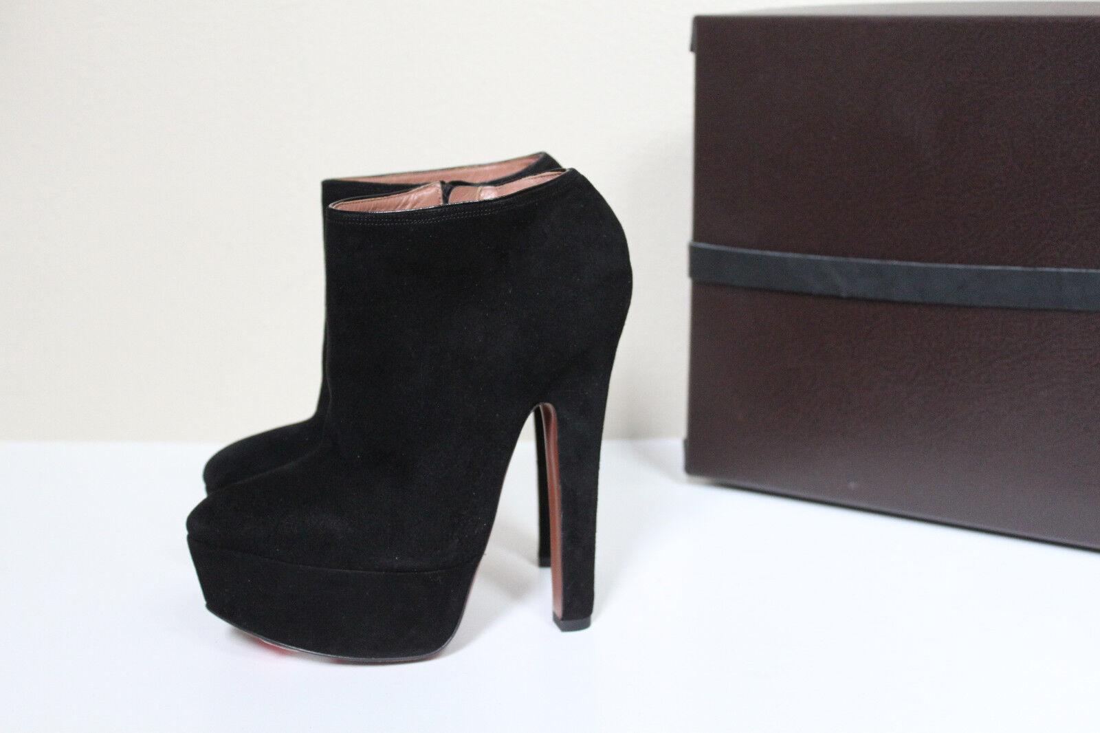 Nuevas Nuevas Nuevas Talla 9.5 39.5 de la Plataforma De Gamuza Negra Azzedine Alaia Botín al Tobillo Zapatos De Tacón  aquí tiene la última