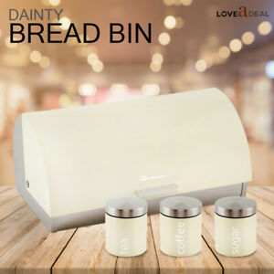 Kitchen-Roller-Food-Bread-Bin-amp-Tea-Coffee-Sugar-Canister-Jar-Tin-Storage-Cream