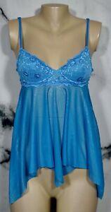 VICTORIA-039-S-SECRET-Sparkly-Blue-Spaghetti-Strap-Babydoll-34B-Underwire-Lace-Cups
