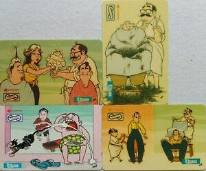 Malaysia-Used-Uniphone-Phone-Card-4-pcs-Utusan-Cartoon