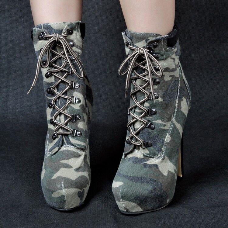 Camouflage Schnürstiefeletten Damen Plateau Stiletto high heels Stiefel 45 46 47