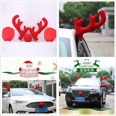 Red Reindeer Car Christmas Decor Costume Set Antlers+Nose+Rear Mirror Covers
