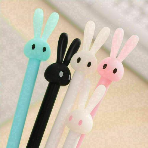 2x Cute Kawaii 0.38 mm Gel Black ink Roller Ball Point Pen Rabbit Korean Ni H3K1