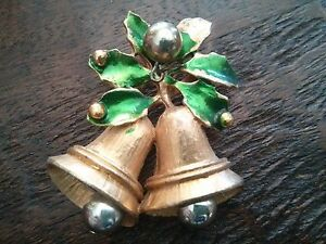 #VINTAGE Gold Bell w/Green Holly Christmas Pin Brooch