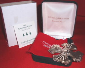 1996 Reed Barton 26th Annual Sterling Silver Christmas Cross Ornament Pendant