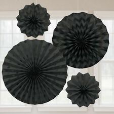 4 x Black Paper Fans Hanging Party Decorations Glitter Finish