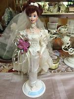 Mattel Romantic Rose Bride Porcelain Barbie Doll Toys