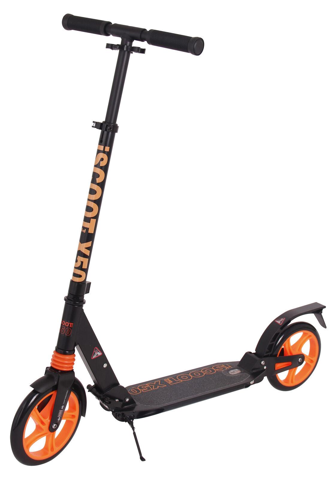 Iscoot X50 Adulto ciudad suspensión Empuje Patada Scooter Plegable grandes n 200mm-Negro