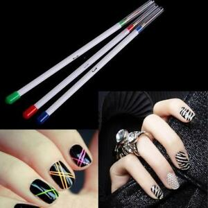 Detalles De 3pcs Nail Art Brush Set De Uñas Tips Gel Uv Pintura Dibujo Para Cepillos