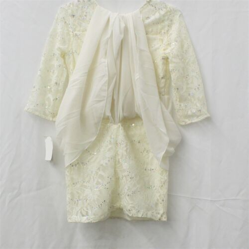 Sequin Hearts Maxi-Overlay Ivory Lace Dress Big Girls Size 14