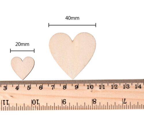 100pcs simple en bois COEURS embellissement Art Decor Scrapbooking Craft 2cm//4cm