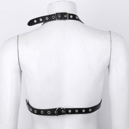 Women PU Leather Adjustable Rivets Body Chain Harness Bra Belt Club Costumes