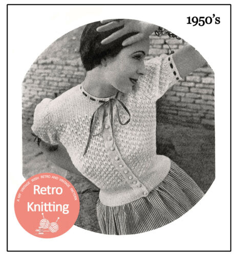 Década de 1950 bastante Encaje Blusa Tejer patrón-copia