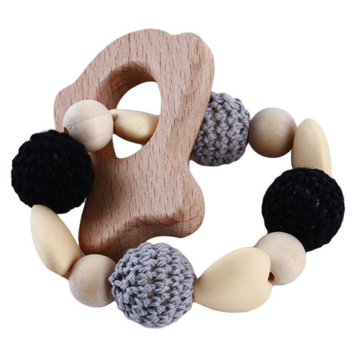 Wooden Animal Baby Teether Molar Teething Pendant Bracelet Chewing Supplies 6A