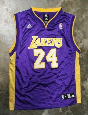 Adidas LA Lakers Kobe Bryant Jersey Size Youth Size Large (14-16) Purple #24 | eBay