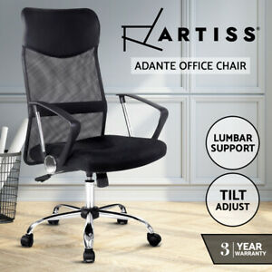 Artiss Office Chair Computer PU Leather Mesh Chairs Executive High Back Black