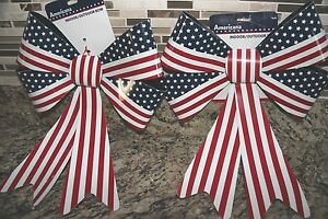 2 USA Flag Bows Reusable Sturdy Decorations Memorial Day 4th July Americana