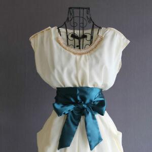 Women-Waistband-Satin-Bowknot-High-Waist-Corset-Belt-Wide-Sash-Ribbon-Tie-Dress