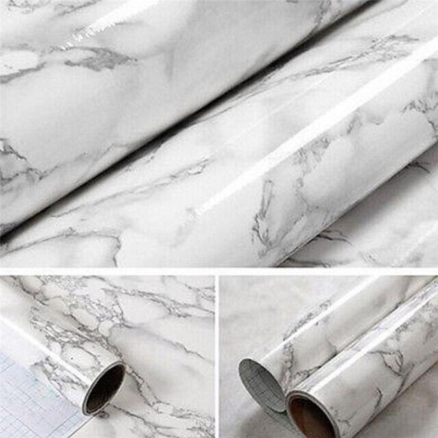 Self Adhesive Marble Paper Peel N/' Stick Wallpaper Sticker Film Home Decor White