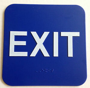 "EXIT Sign ADA Compliant w/Braille Blue Public Accommodations Facilit (6""x6"")"