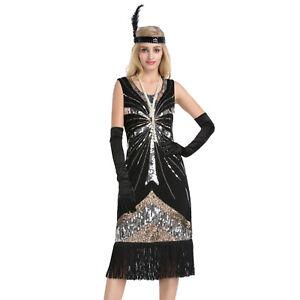 Women-039-s-Vintage-1920s-Style-Gatsby-Sequin-Flapper-Dress-Cocktail-Party-Dresses